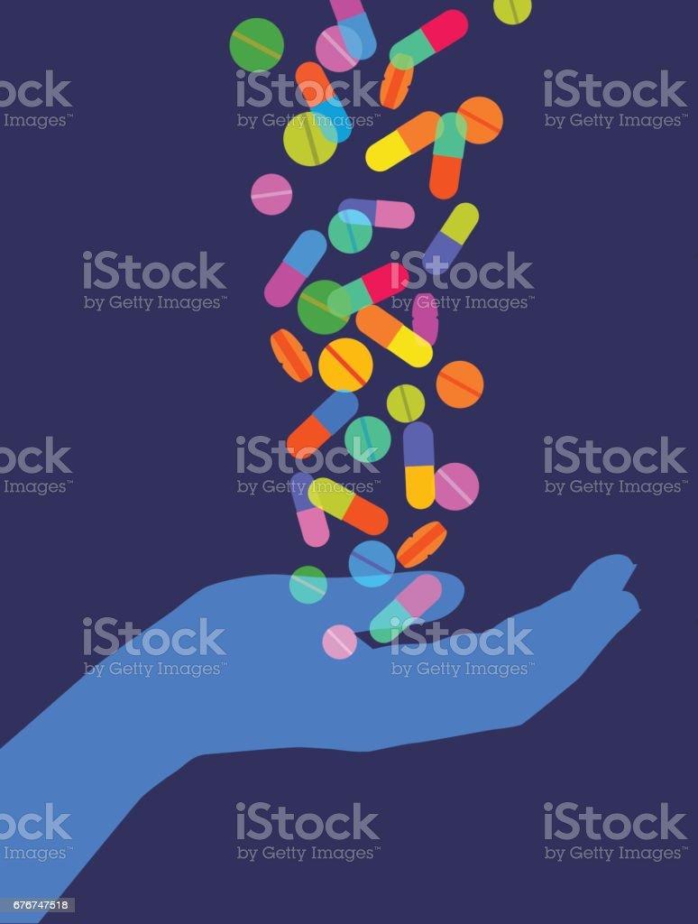 Catching Pills vector art illustration