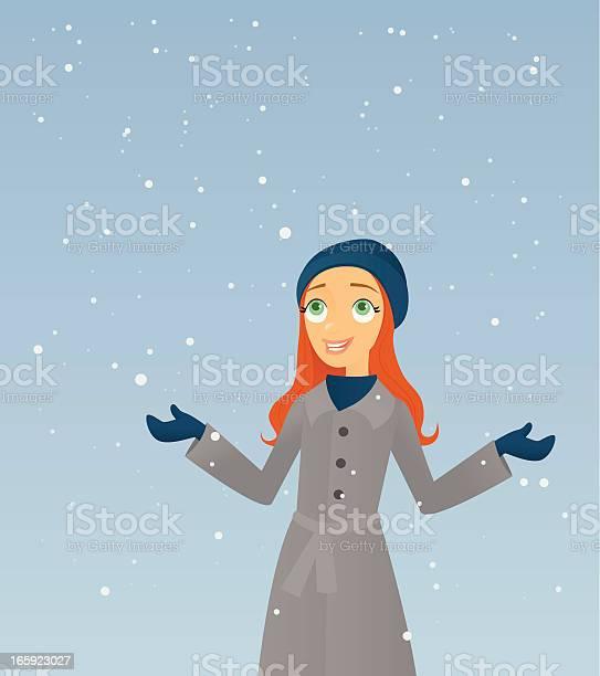 Catching Snowflakes A vector illustration of a smiling young woman enjoying the first snow. Adult stock vector