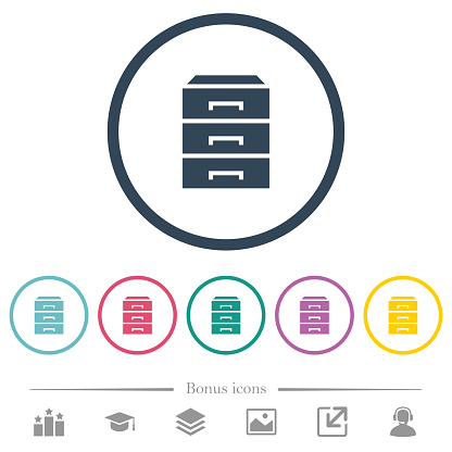 Categorize flat color icons in round outlines