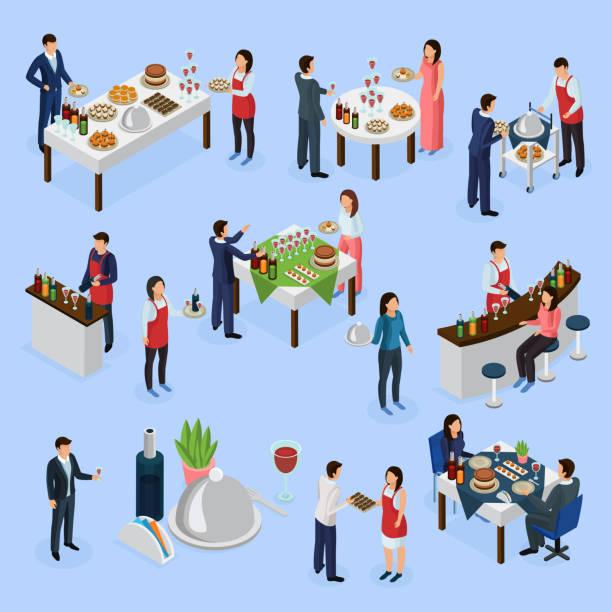 catering und bankette isometrische ikonen - nahrungsmittelindustrie stock-grafiken, -clipart, -cartoons und -symbole