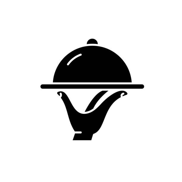 stockillustraties, clipart, cartoons en iconen met catering zwart pictogram, vector teken op geïsoleerde achtergrond. horeca concept symbool, afbeelding - eetklaar