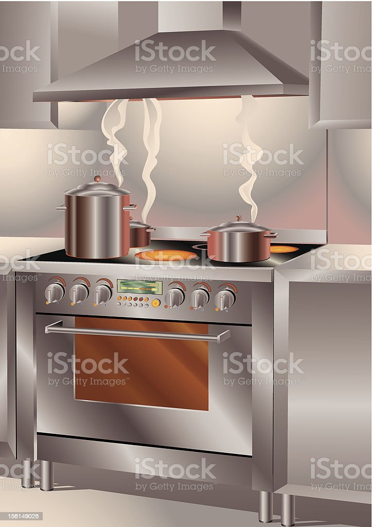 Catering Kitchen Stove royalty-free stock vector art