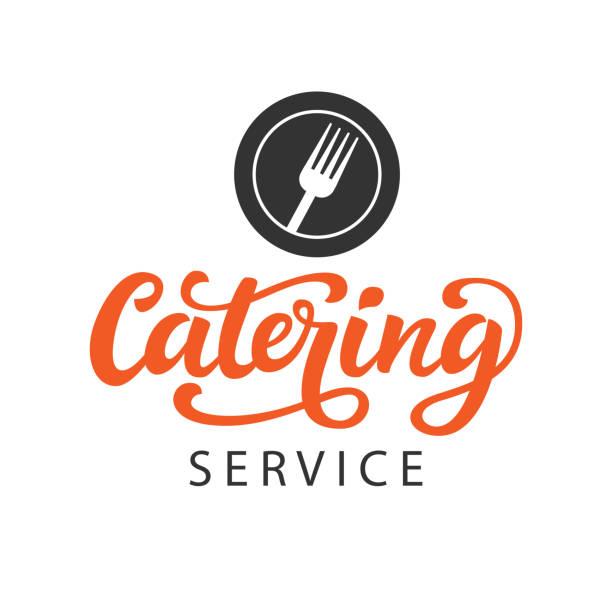 catering vektor abzeichen mit handgeschriebenen moderne kalligraphie - nahrungsmittelindustrie stock-grafiken, -clipart, -cartoons und -symbole