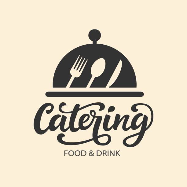 catering vector  badge with hand written modern calligraphy - restaurant logos stock illustrations, clip art, cartoons, & icons
