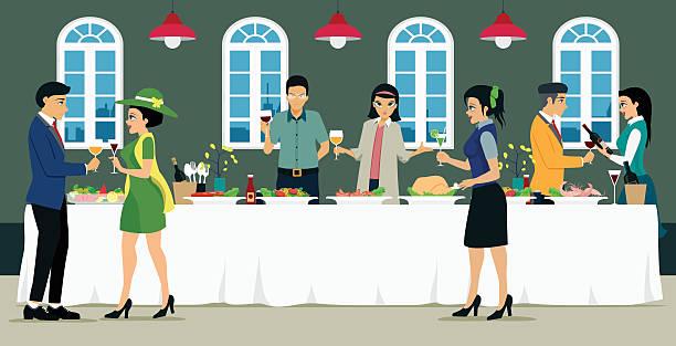 ilustrações de stock, clip art, desenhos animados e ícones de catering - muita comida