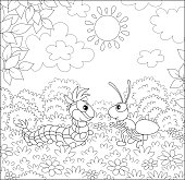 Funny insects friendly talking on a glade of a forest on a pretty summer day, black and white vector illustration in a cartoon style for a coloring book