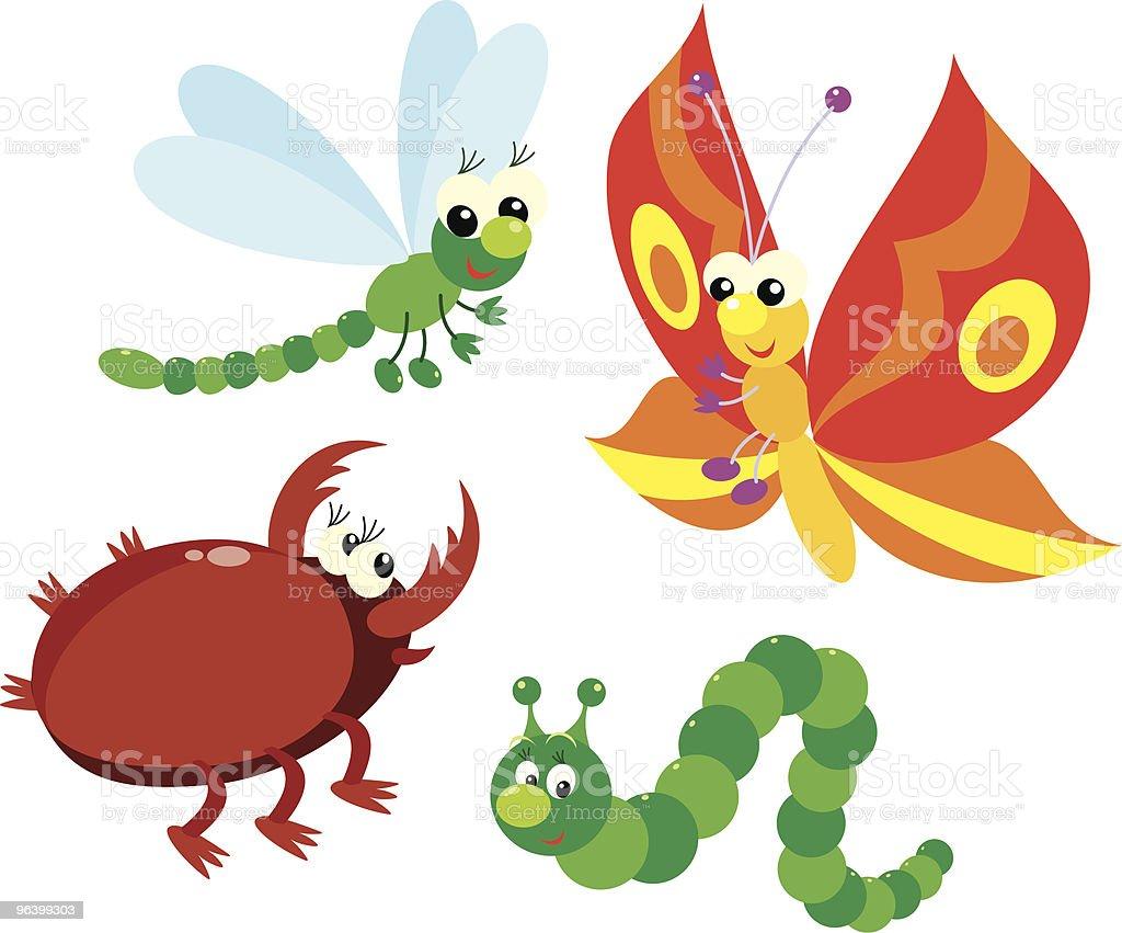 キャタピラー、蝶、ドラゴンフライ・ビートル - イトトンボのロイヤリティフリーベクトルアート