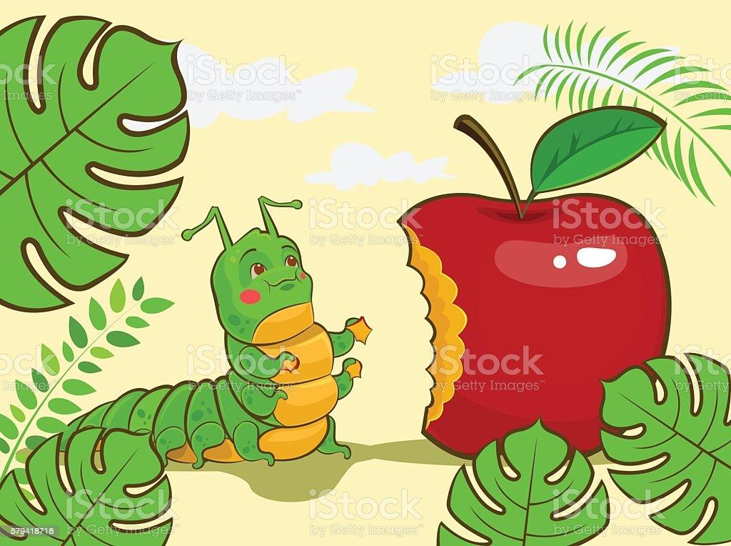 Caterpillar Character Eating Red Apple Vector Cartoon Illustration