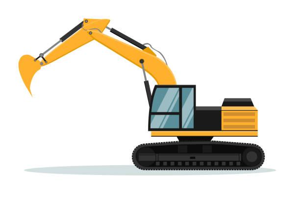 caterpillar bagger-vektor-design. schwere maschinen. - bagger stock-grafiken, -clipart, -cartoons und -symbole