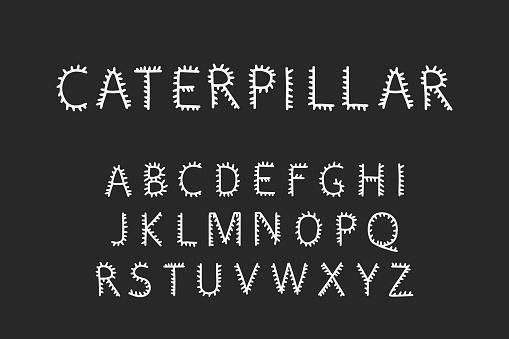 Caterpillar hand drawn vector type font in cartoon comic style