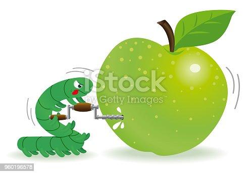 Vector Illustration of a cartoon Caterpillar Piercing one Green Apple