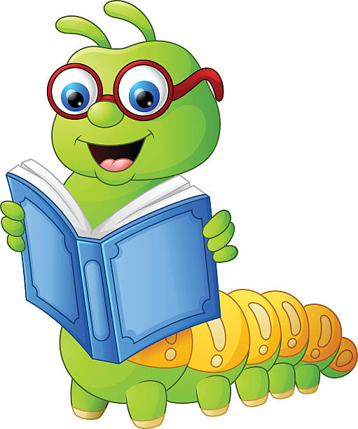 stockillustraties, clipart, cartoons en iconen met caterpillar reading book - bargerecht