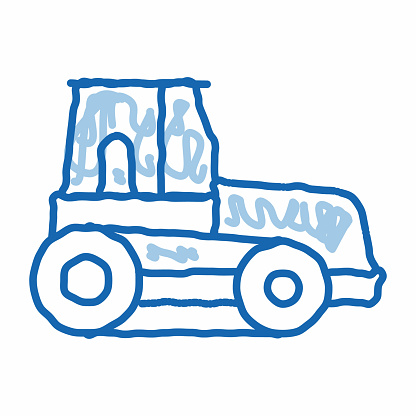 Caterpillar Tractor Vehicle doodle icon hand drawn illustration