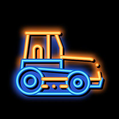 Caterpillar Tractor Vehicle neon glow icon illustration