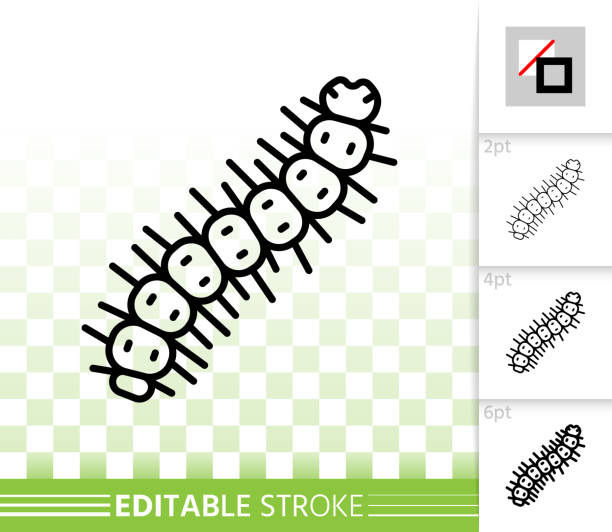 stockillustraties, clipart, cartoons en iconen met caterpillar worm eenvoudige zwarte lijn vector pictogram - bargerecht