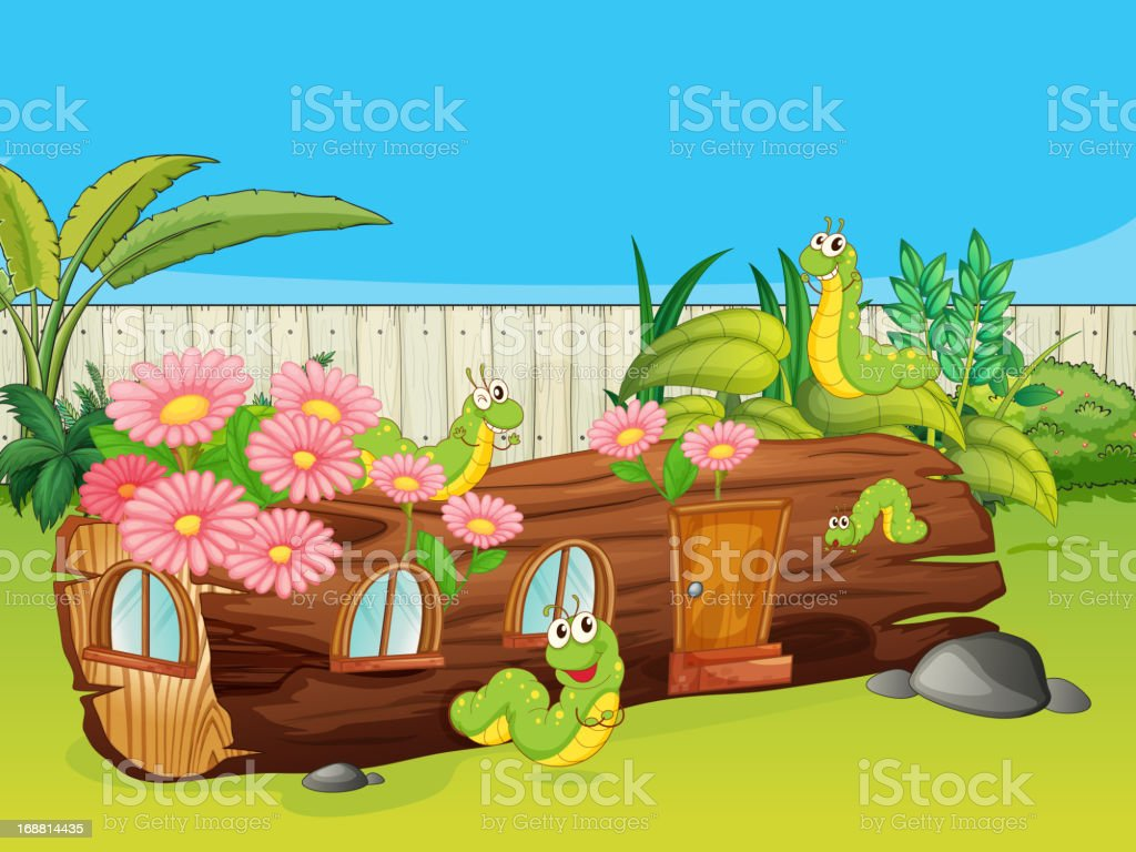 Caterpillars and a wood house royalty-free stock vector art