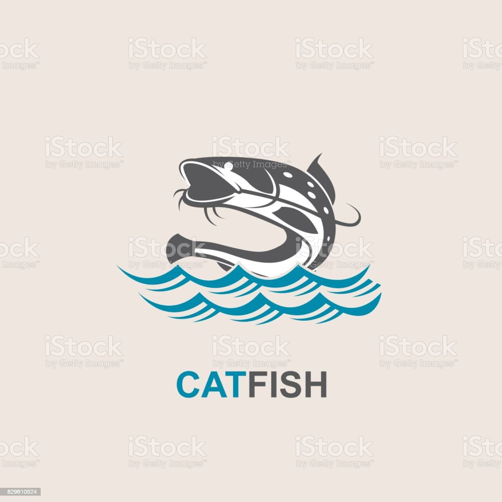 catfish and wave icon vector art illustration