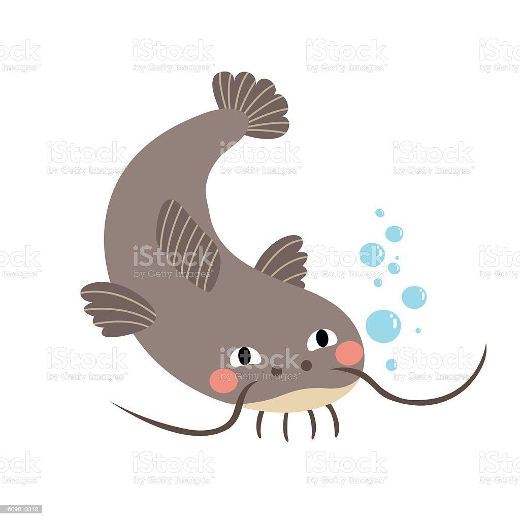 Catfish animal cartoon character vector illustration. vector art illustration
