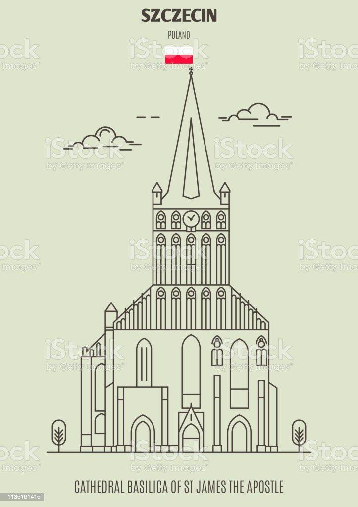 Cathedral Basilica of St James the Apostle in Szczecin, Poland. Landmark icon