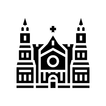 cathedral building glyph icon vector illustration