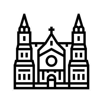 cathedral building line icon vector illustration