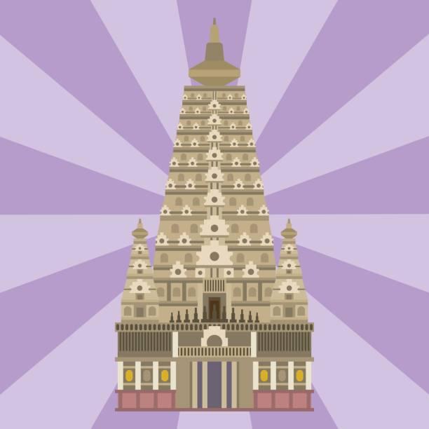 kathedrale chinesischer traditionellen kirche tempel bauen wahrzeichen tourismus-vektor-illustration - pattaya stock-grafiken, -clipart, -cartoons und -symbole