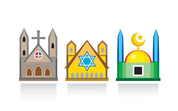 Cathedral church, Jewish synagogue, Islamic mosque. Religious temples, architectural structures. Cathedral church, Jewish synagogue, Islamic mosque. Religious temples, architectural structures. place of worship stock illustrations