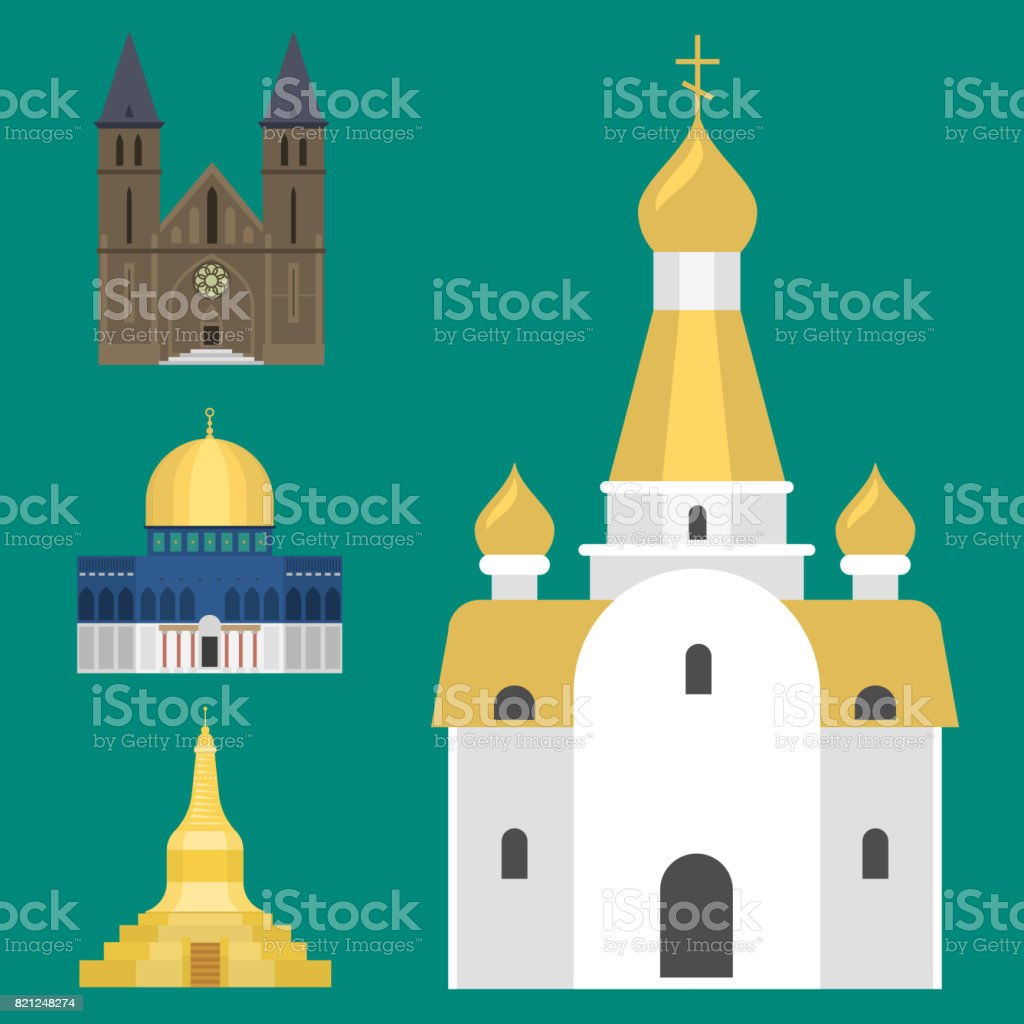 Cathedral church temple traditional building famous landmark tourism vector illustration vector art illustration