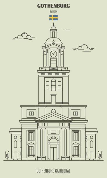 bildbanksillustrationer, clip art samt tecknat material och ikoner med domkyrkan i göteborg, sverige. ikon för landmärke - gothenburg