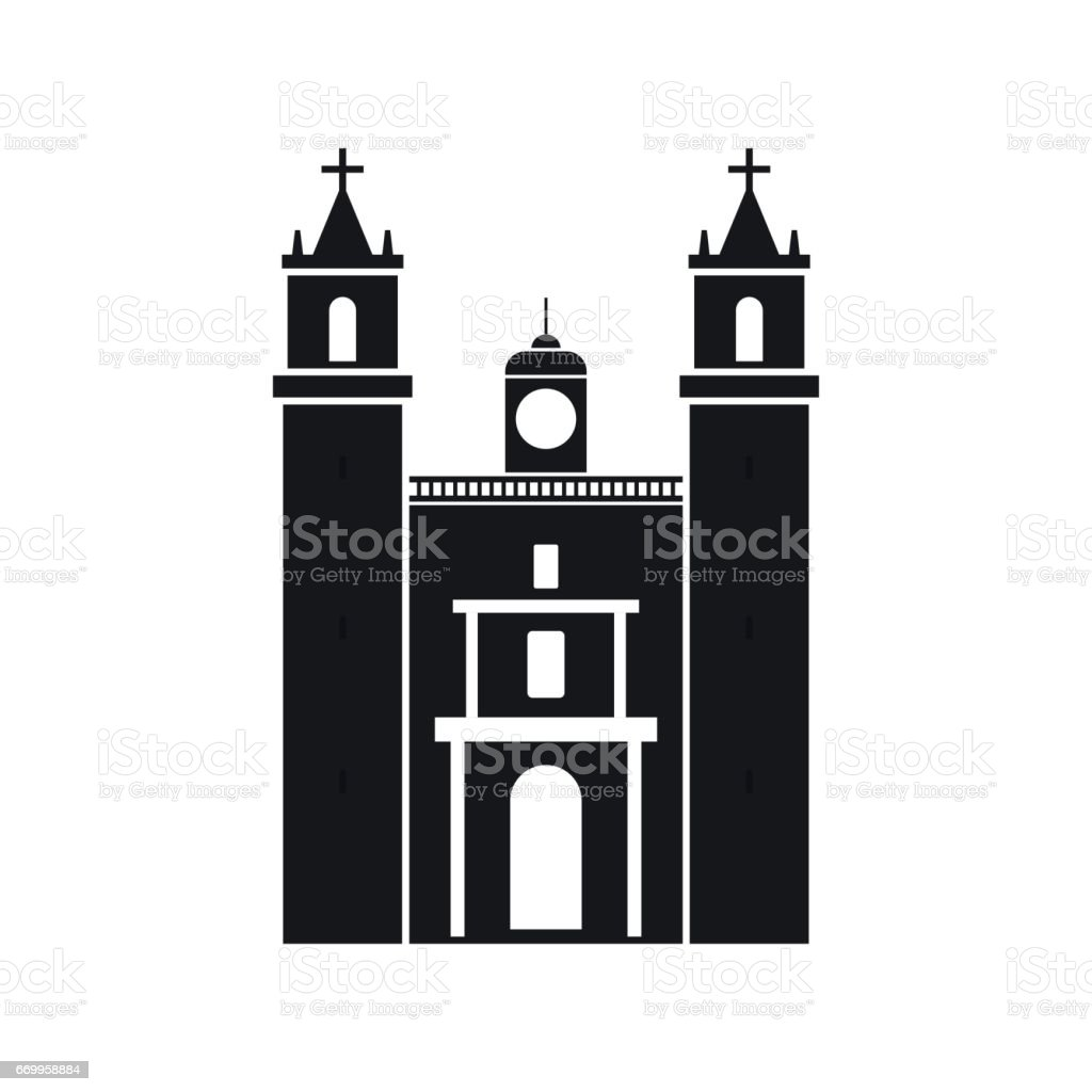 Cathedral in Valladolid, Mexico icon, simple style vector art illustration