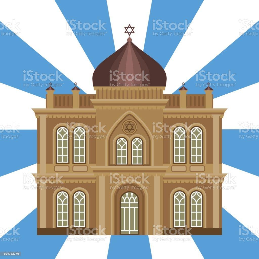 Cathedral jewish church temple traditional building landmark tourism vector illustration vector art illustration