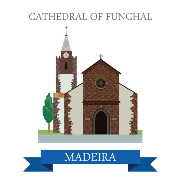 ilustrações de stock, clip art, desenhos animados e ícones de cathedral of funchal madeira in portugal. flat cartoon style historic sight showplace attraction web site vector illustration. world countries cities vacation travel sightseeing africa collection. - ilustrações de funchal