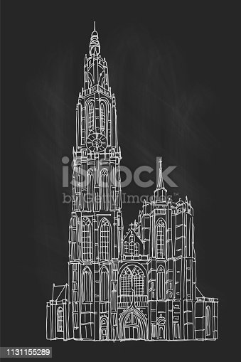 Vector sketch of Cathedral of Our Lady, Antwerp, Belgium