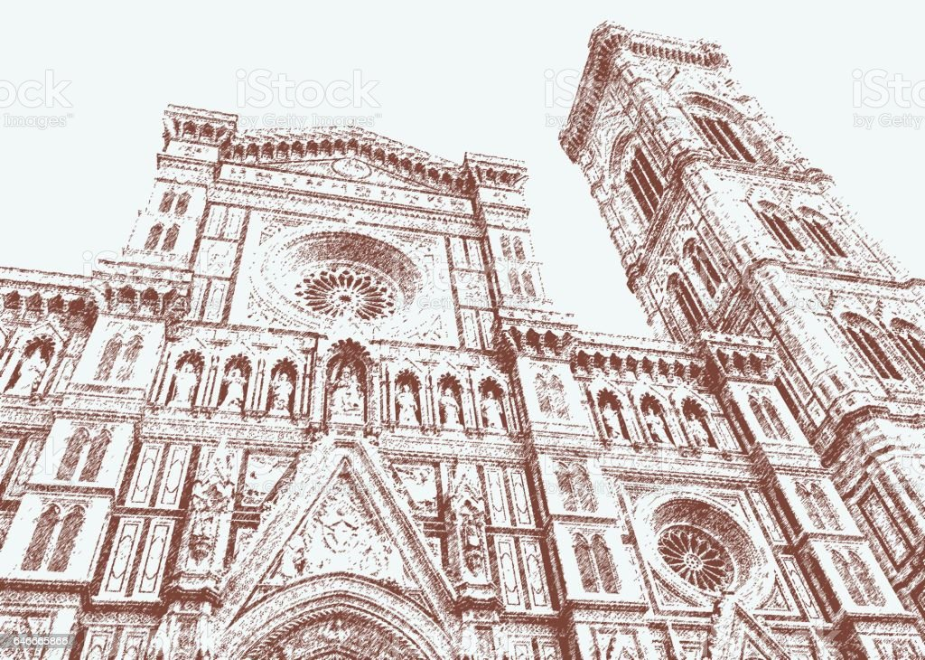 Cathedral of Santa Maria del Fiore and Giotto's bell tower, Florence vector art illustration