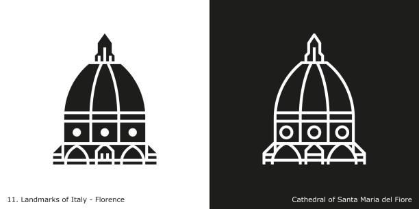 illustrazioni stock, clip art, cartoni animati e icone di tendenza di cathedral of santa maria del fiore icon - firenze