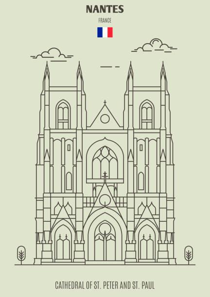 illustrations, cliparts, dessins animés et icônes de cathédrale saint-pierre-et-saint-paul à nantes, france. icône de repère - nantes