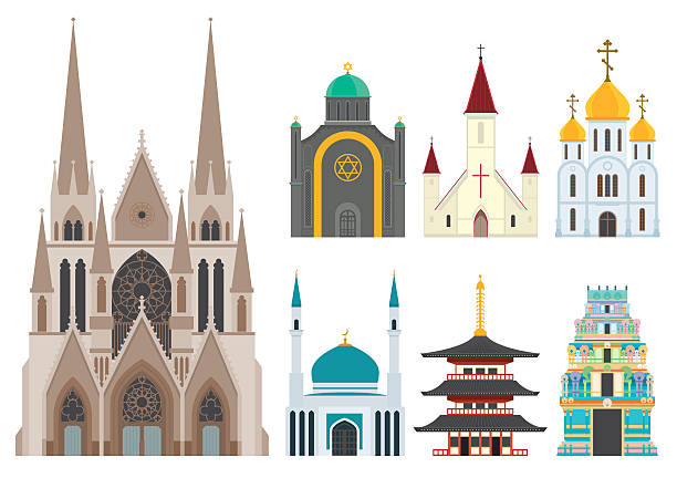 stockillustraties, clipart, cartoons en iconen met 1 cathedral with 6 small worship centers of other faiths - godsdienstige gebouwen