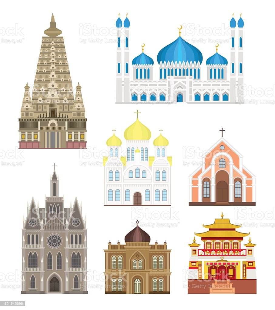Cathedrals and churches infographic temple buildings set architecture asia landmark vector art illustration
