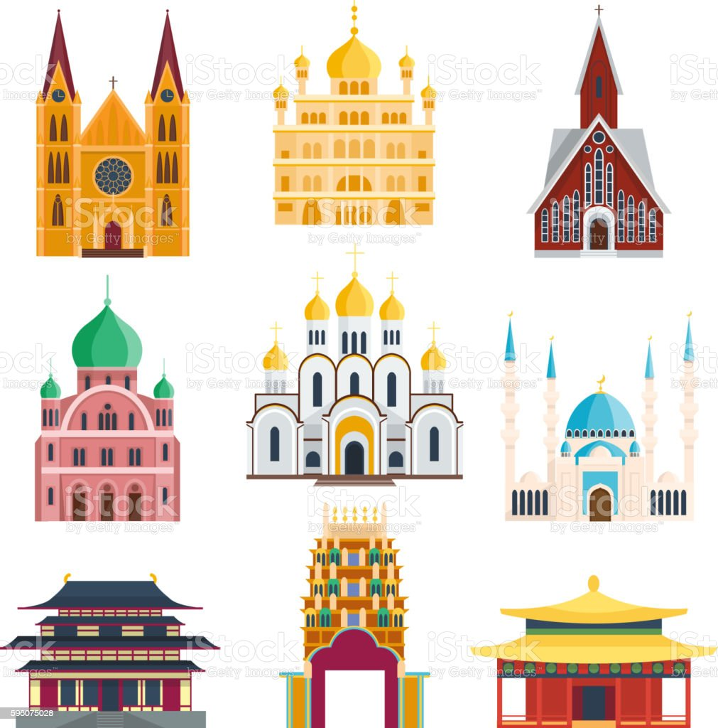 Cathedrals and churches temple building vector art illustration