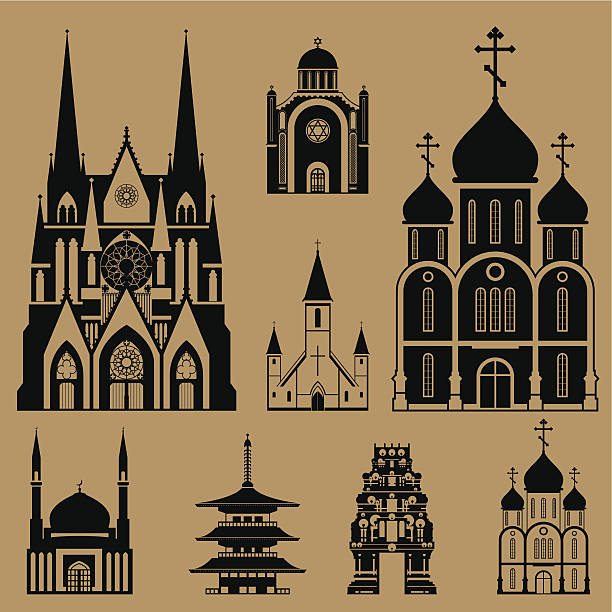Cathedrals and churches Cathedrals and churches infographic set place of worship stock illustrations