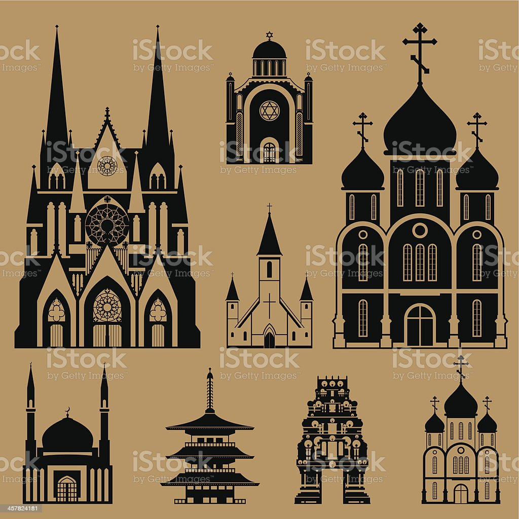 Cathedrals and churches vector art illustration