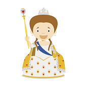 Catherine II of Russia (The Great) cartoon character. Vector Illustration. Kids History Collection.