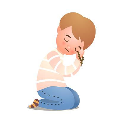Catholic christianity little boy offer prayer to God