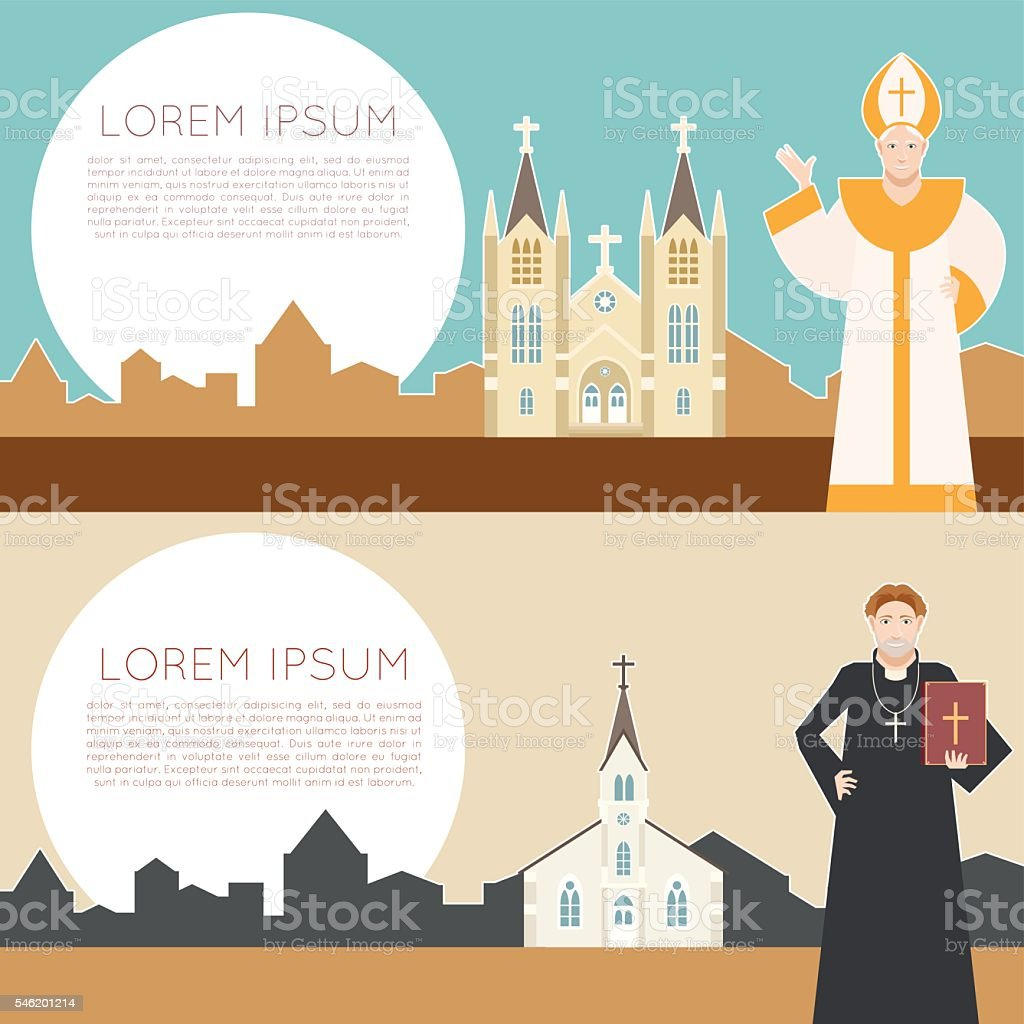 Catholic Church Banner vector art illustration