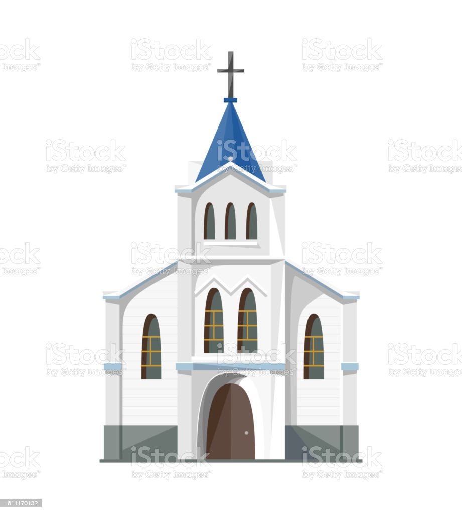 Catholic church icon isolated on white background vector art illustration