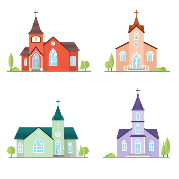 Catholic Church landscape Set of flat icon churches. For web design and application interface, also useful for infographics. Vector illustration. Catholic churches landscape. church stock illustrations