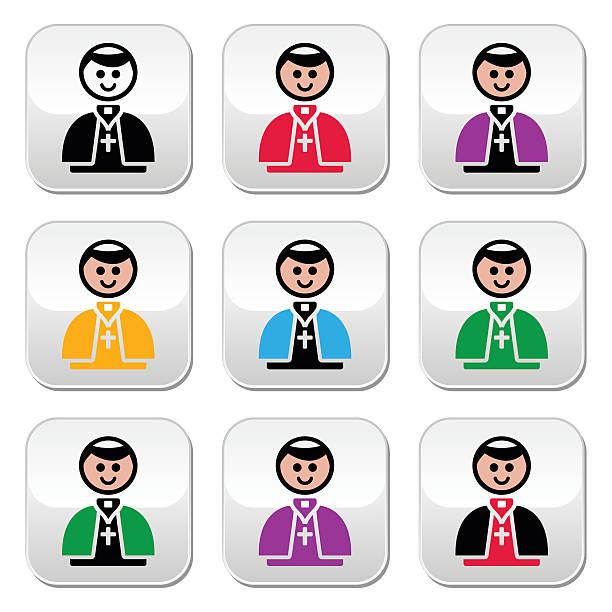 illustrazioni stock, clip art, cartoni animati e icone di tendenza di chiesa cattolica impostare di pulsanti vettoriale papa - illustrazioni di ratzinger