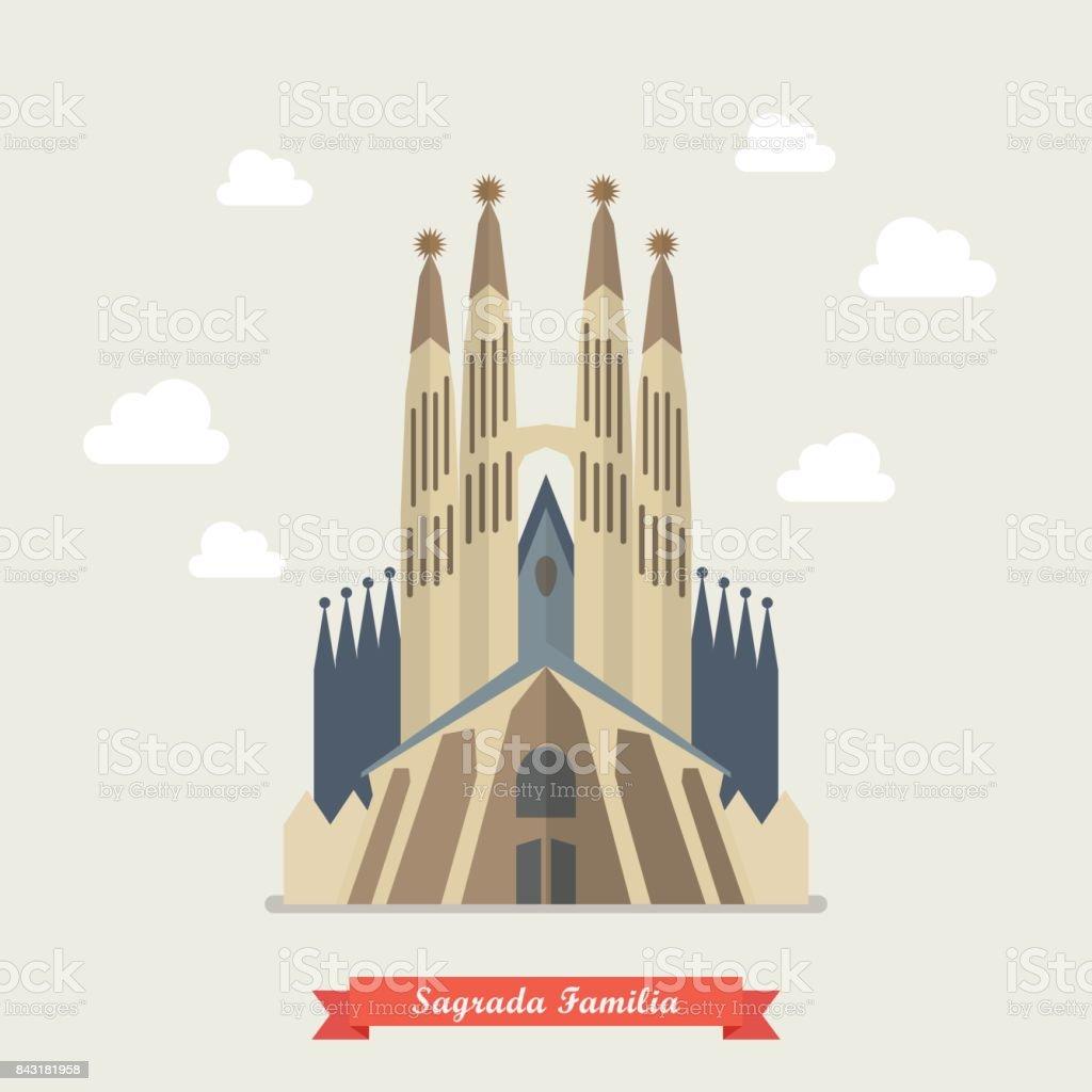 カトリックの教会サグラダ ファミリア アントニガウディのベクター