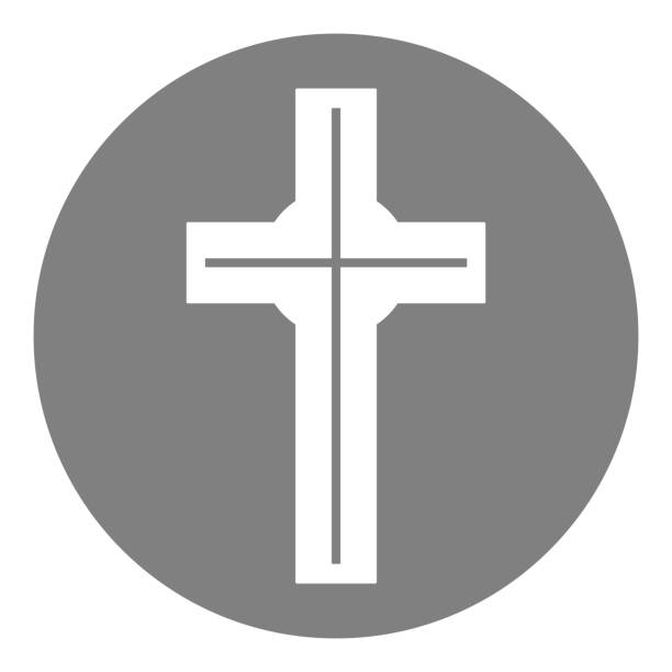 Royalty Free Black Square Button With Christian Church Icon Clip Art