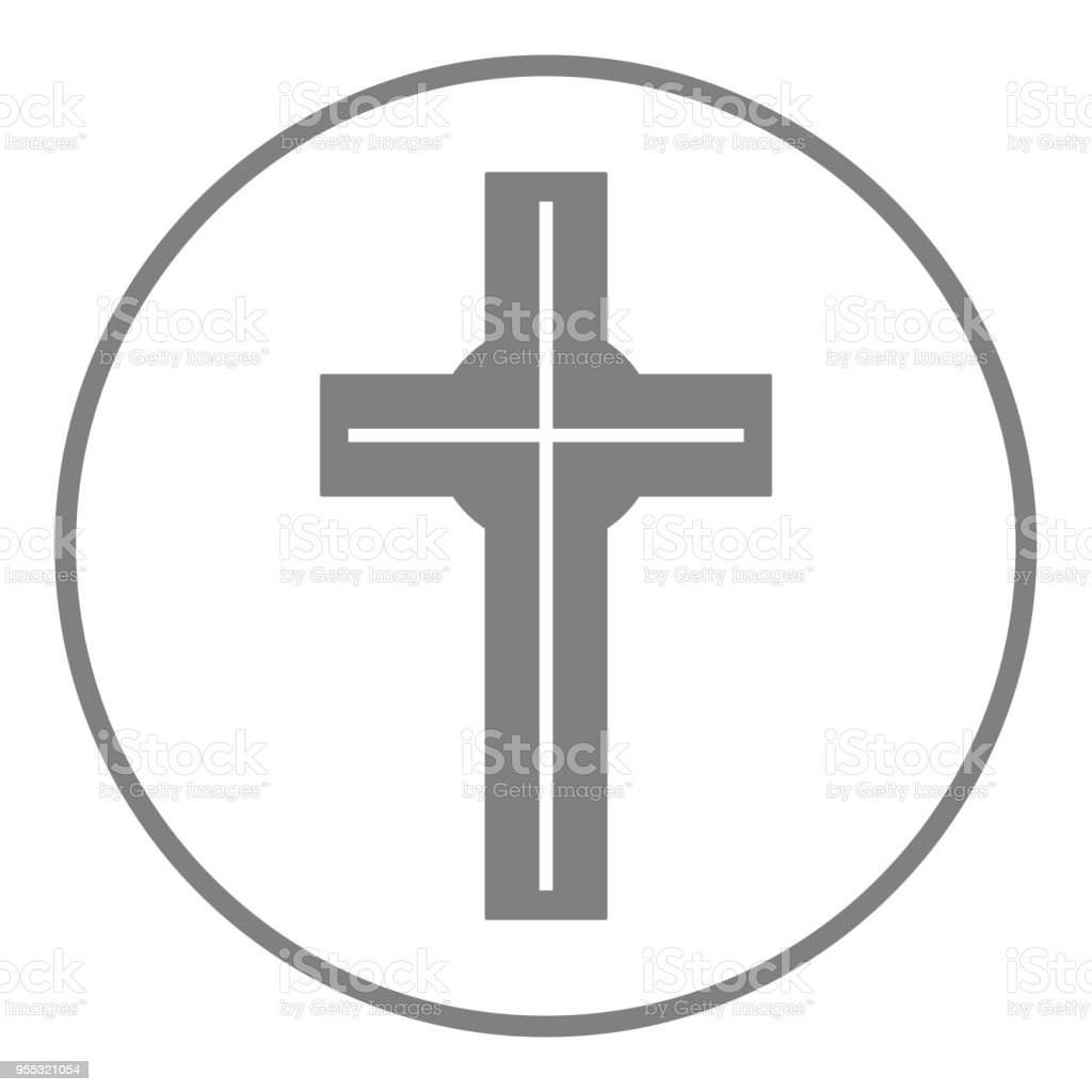 Catholic Cross Sign Christian Religion Symbol Round Button Vector
